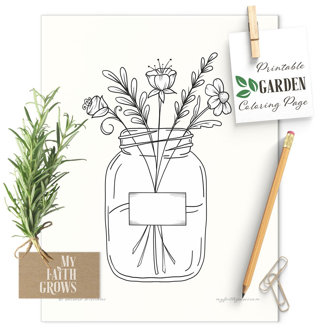 Jar Of Flowers Printable Coloring Page My Faith Grows