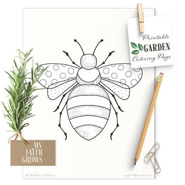 Honey Bee Printable coloring page mockup