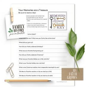 Treasured Memories family history printable worksheet
