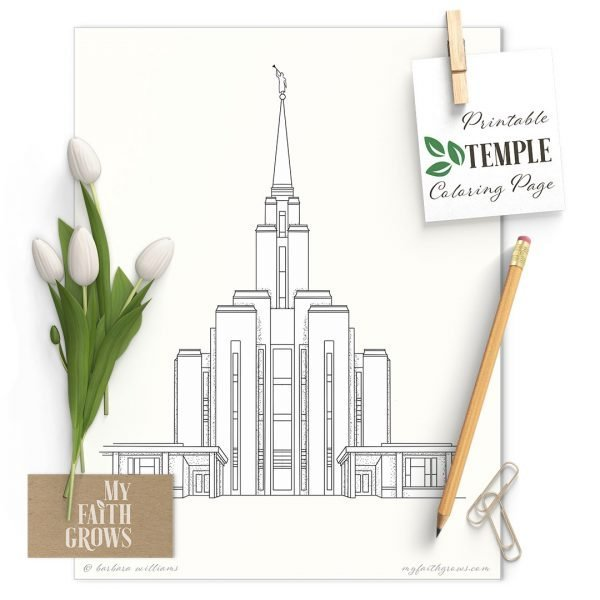 Oquirrh Mountain Utah temple coloring page mockup