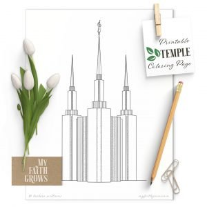 Washington D.C. Temple printable coloring page mockup