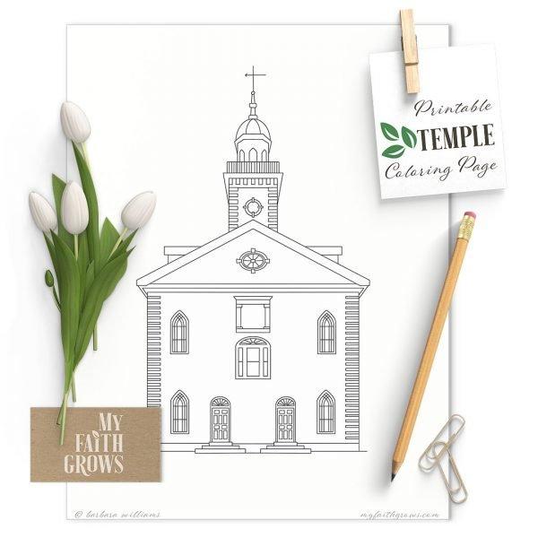 Mockup of Kirtland Temple coloring page