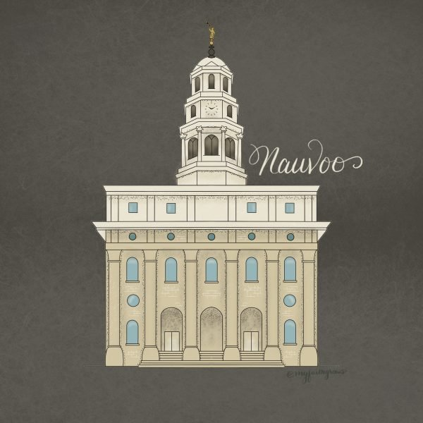 Nauvoo Temple Coloring Page Digitally Colored